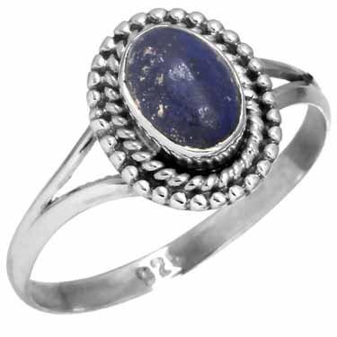 edelsteen ring lapis lazuli, sterling zilver, maat 17,25, voordeelactie