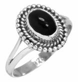 edelsteen ring zwarte onyx, sterling zilver, voordeelactie, maat 15,75