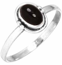 edelsteen ring zwarte onyx, sterling zilver