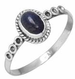 edelsteenring lapis lazuli, sterling zilver, maat 20, voordeelactie