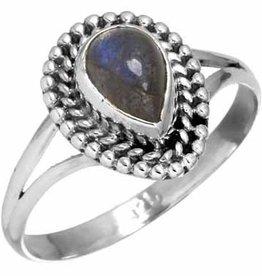 edelsteen labradoriet ring, sterling zilver, ringmaat 16,75