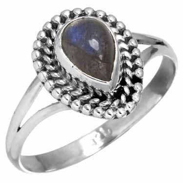 edelsteen labradoriet ring, sterling zilver, ringmaat 16,75, voordeelactie