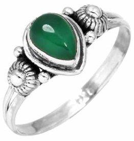 edelsteen ring groene onyx, sterling zilver