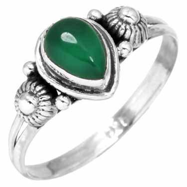 edelsteen ring groene onyx, sterling zilver, voordeelactie, maat 18,5