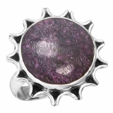 edelsteen ring purpuriet, sterling zilver, prachtig model, voordeelactie, ringmaat 18