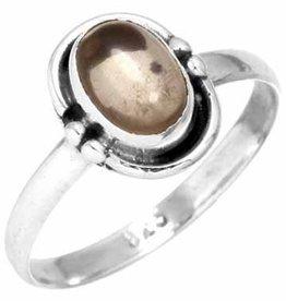 edelsteenring rookkwarts, sterling zilver