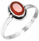 edelsteen ring carneool, facetgeslepen, sterling zilver, voordeelactie, ringmaat 18