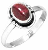 edelsteen ring granaat, sterling zilver, voordeelactie, ringmaat 16,25