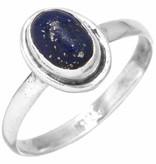 edelsteenring lapis lazuli, sterling zilver, maat 15,5, voordeelactie