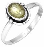 edelsteen ring peridoot, sterling zilver, maat 17, voordeelactie