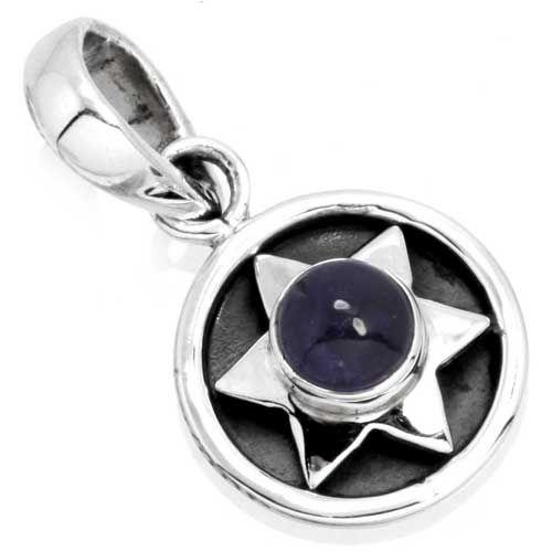 edelsteen hanger ioliet / watersaffier, sterling zilver, voordeelactie