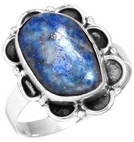 edelsteenring lapis lazuli, sterling zilver, vrije vorm, voordeelactie