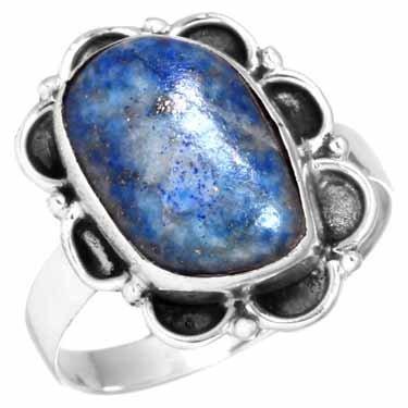 edelsteenring lapis lazuli, sterling zilver, vrije vorm, voordeelactie, ringmaat 17