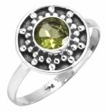 edelsteen ring peridoot, facetgeslepen, sterling zilver, maat 17,75, voordeelactie