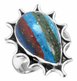 edelsteenring regenboog calsilica, sterling zilver, handbewerkt, voordeelactie