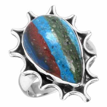 edelsteenring regenboog calsilica, sterling zilver, handbewerkt, voordeelactie, ringmaat 15.75