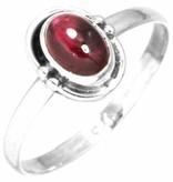 edelsteen ring granaat, sterling zilver, voordeelactie, ringmaat 17.75