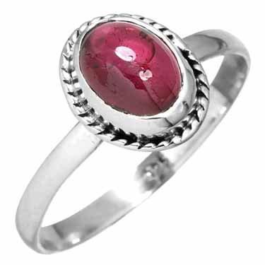 edelsteen ring granaat, sterling zilver, voordeelactie, ringmaat 18