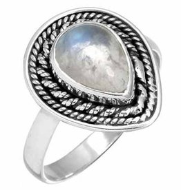 edelsteen ring maansteen, blauwpaarse gloed, sterling zilver, prachtig model
