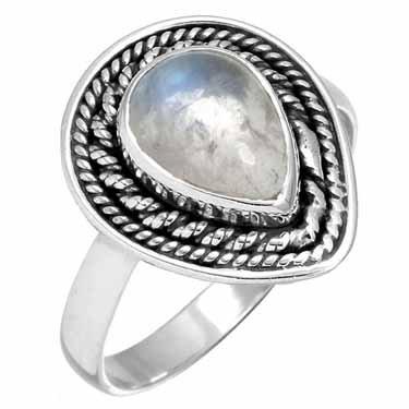 edelsteen ring maansteen, blauwpaarse gloed, sterling zilver, prachtig model, voordeelactie, ringmaat 19