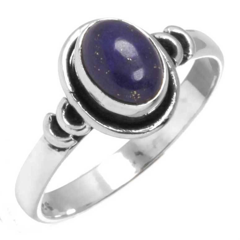 edelsteenring lapis lazuli, sterling zilver, ringmaat 16.25, voordeelactie