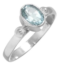 edelsteen  ring topaas, blauwe, facetgeslepen, sterling zilver