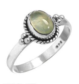 edelsteen prehniet ring, sterling zilver