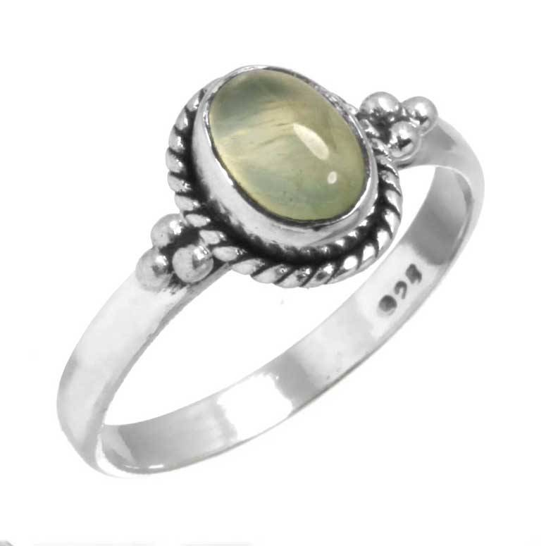 edelsteen prehniet ring, sterling zilver, ringmaat 16.75, voordeelactie