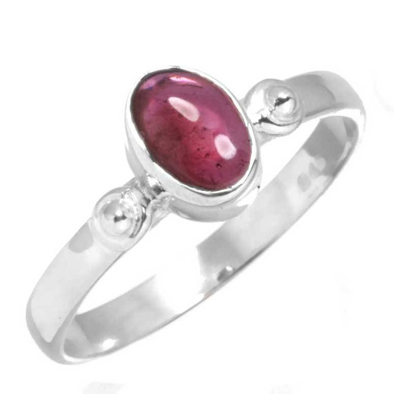 edelsteen ring granaat, sterling zilver, voordeelactie, ringmaat 17.5