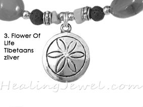 hangertje 3 Flower Of Life Tibetaans zilver