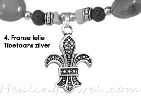 hangertje 4 Franse lelie Tibetaans zilver