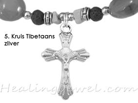 hangertje 5 Kruis Tibetaans zilver