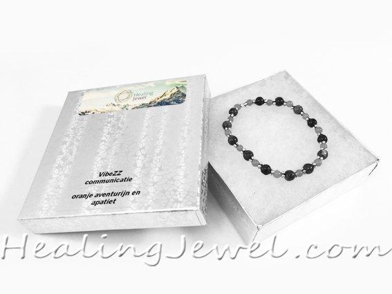 VibeZZ VibeZZ edelsteen armband 'woede beheersen', met granaat en groene bronziet, zelf samenstellen