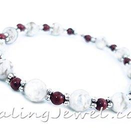 VibeZZ VibeZZ edelsteen armband  'standvastigheid', met witte turkoois en mahonie obsidiaan