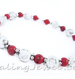 VibeZZ VibeZZ edelsteen armband 'zelfrespect', met witte turkoois en rode koraal