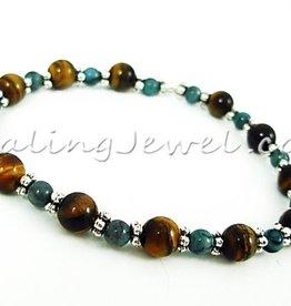VibeZZ VibeZZ edelsteen armband:  'spiritueel aarden', met gele tijgeroog en blauwe jaspis
