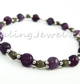 VibeZZ VibeZZ edelsteen armband 'overgevoeligheid', met paarse kunziet en pyriet