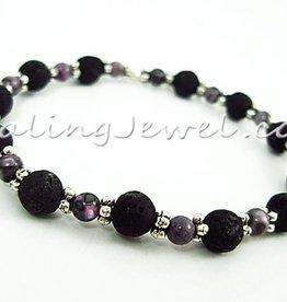 VibeZZ VibeZZ edelsteen armband  'ordenen', met paarse jaspis en lavasteen