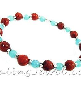 VibeZZ VibeZZ edelsteen armband  'liefde', met rode sponskoraal en amazoniet