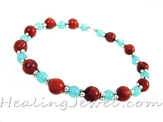 VibeZZ VibeZZ edelsteen armband  'liefde', met rode sponskoraal en amazoniet, zelf samenstellen