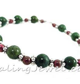 VibeZZ VibeZZ edelsteen armband 'woede beheersen', met granaat en groene bronziet