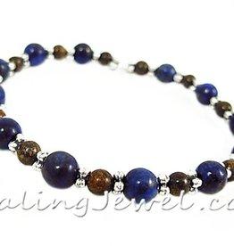 VibeZZ VibeZZ edelsteen armband 'grip', met lapis lazuli en bronziet