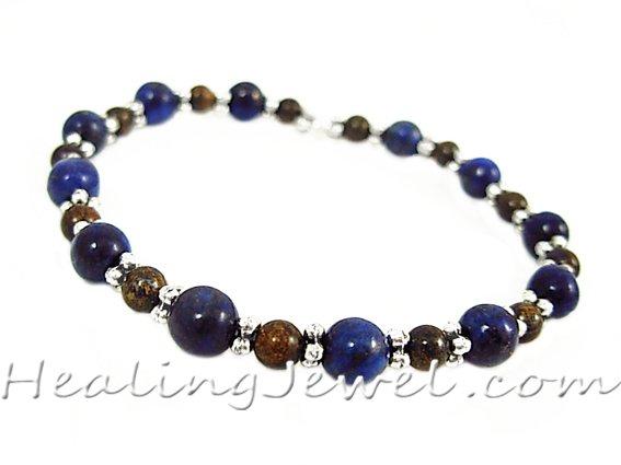 VibeZZ VibeZZ edelsteen armband 'grip', met lapis lazuli en bronziet, zelf samenstellen