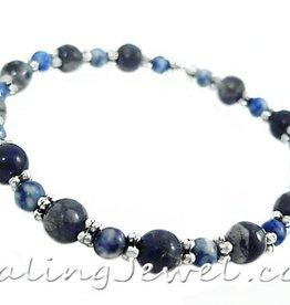 VibeZZ edelsteen armband 'assertiviteit', VibeZZ, met sodaliet en blauwe rhyoliet