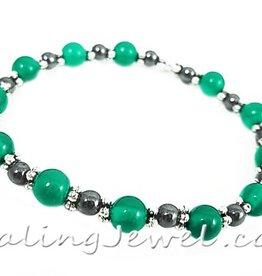 VibeZZ VibeZZ edelsteen armband: 'kunnen kiezen', voor moeite met kiezen, groene agaat en hematiet