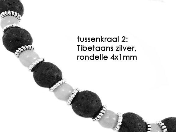 VibeZZ VibeZZ edelsteen armband  'bij jezelf', met witte turkoois en tijgeroog, zelf samenstellen