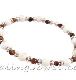 VibeZZ VibeZZ edelsteen armband  'bij jezelf', met witte turkoois en tijgeroog