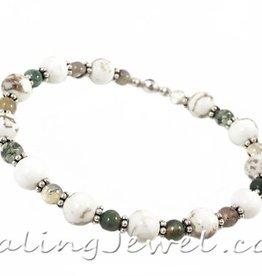 VibeZZ VibeZZ edelsteen armband  'herstel', met witte turkoois en Indisch agaat