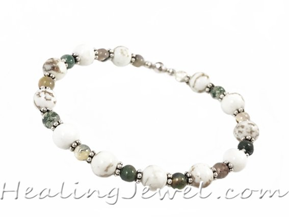 VibeZZ VibeZZ edelsteen armband  'herstel', met witte turkoois en Indisch agaat, zelf samenstellen