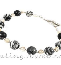 VibeZZ VibeZZ edelsteen armband 'hoofdpijn verdwijn', met citrien en zwartwitte netwerk jaspis